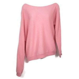 Minnie Rose 100% Cashmere Coral Pink Sweater Sz S